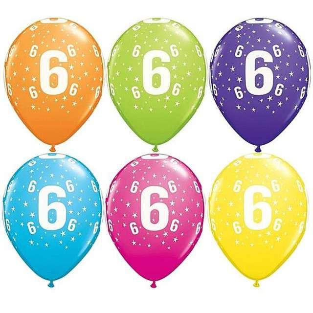 "Balony 11"", ""Liczba  6"", QUALATEX, pastel mix tropik, 25 szt"