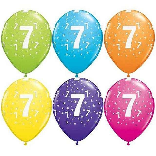 "Balony 11"", ""Liczba  7"", QUALATEX, pastel mix tropik, 25 szt"
