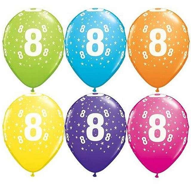 "Balony 11"", ""Liczba  8"", QUALATEX, pastel mix tropik, 25 szt"