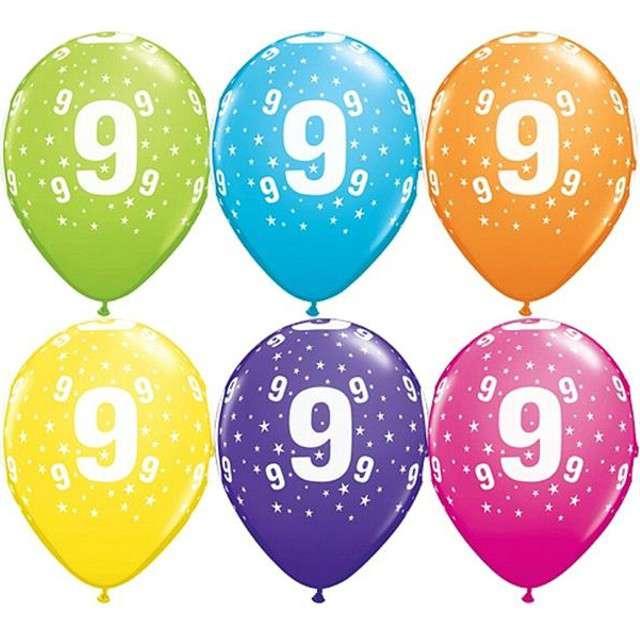 "Balony 11"", ""Liczba  9"", QUALATEX, pastel mix tropik, 25 szt"