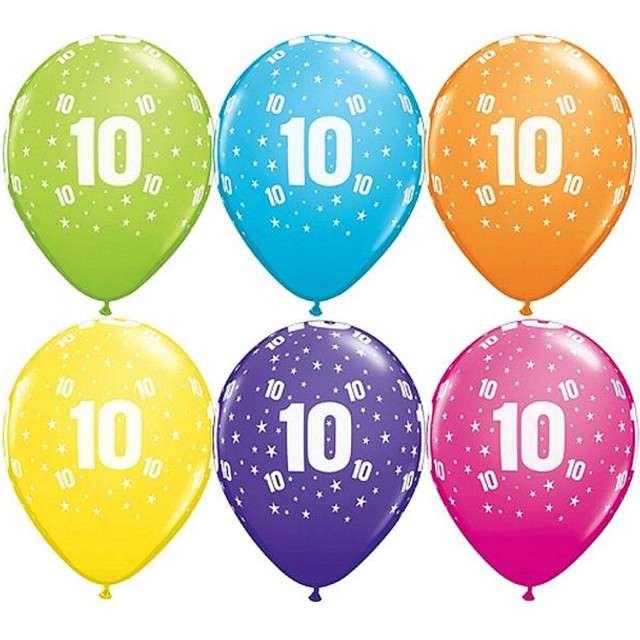 "Balony 11"", ""Liczba 10"", QUALATEX, pastel mix tropik, 6 szt"