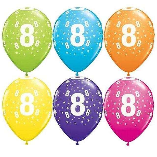 "Balony 11"", ""Liczba  8"", QUALATEX, pastel mix tropik, 6 szt"