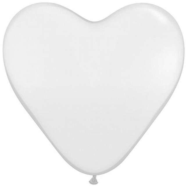 """Balony 15"""", serca, QUALATEX, pastel białe, 50 szt"""