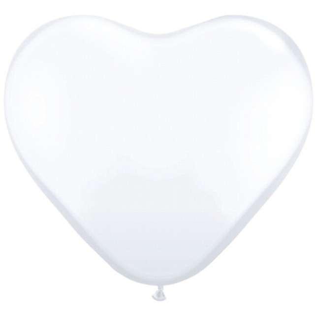 "Balony 10"", serca, GLOBOS, pastel białe, 6 szt"