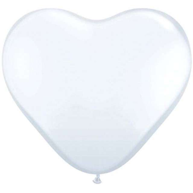 """Balony 6"""", serca, QUALATEX, pastel białe, 100 szt"""