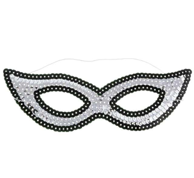 Maska karnawałowa, srebrna, w cekiny