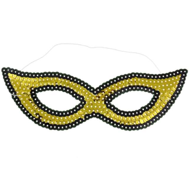 Maska karnawałowa, złota, cekinowa