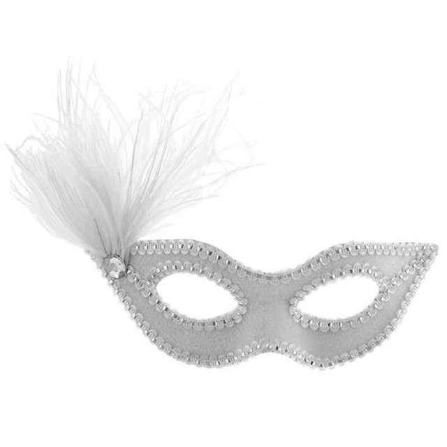Maska karnawałowa, srebrna, cekinowa z piórkiem