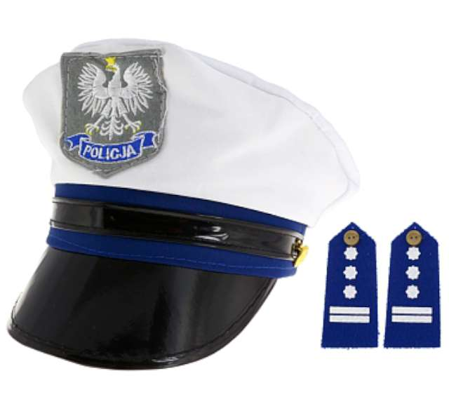 Czapka policjanta, z pagonami