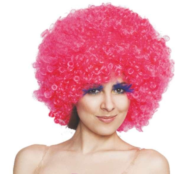 """Peruka party """"Afro"""", różowa"""