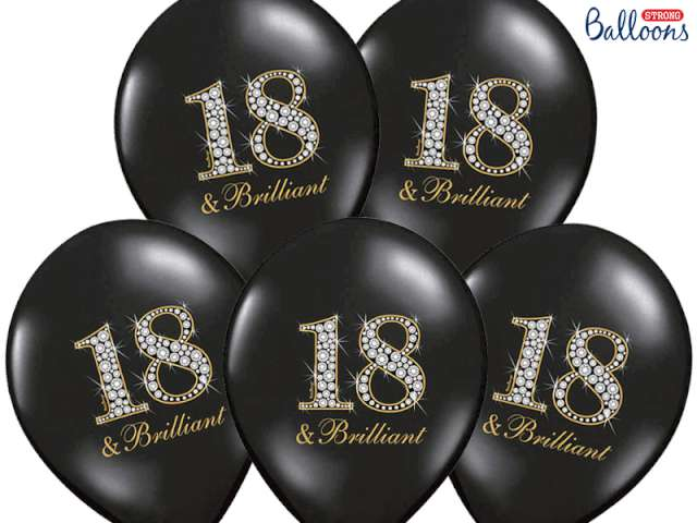 """Balony 14"""", """"18 & brilliant"""", STRONG, pastel black, 6 szt"""