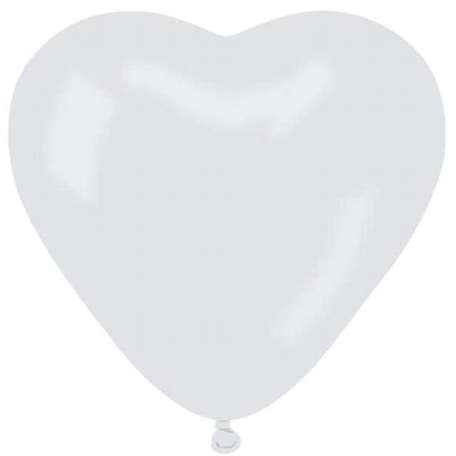 "Balony 10"", serca, GEMAR, pastel białe, 50 szt"