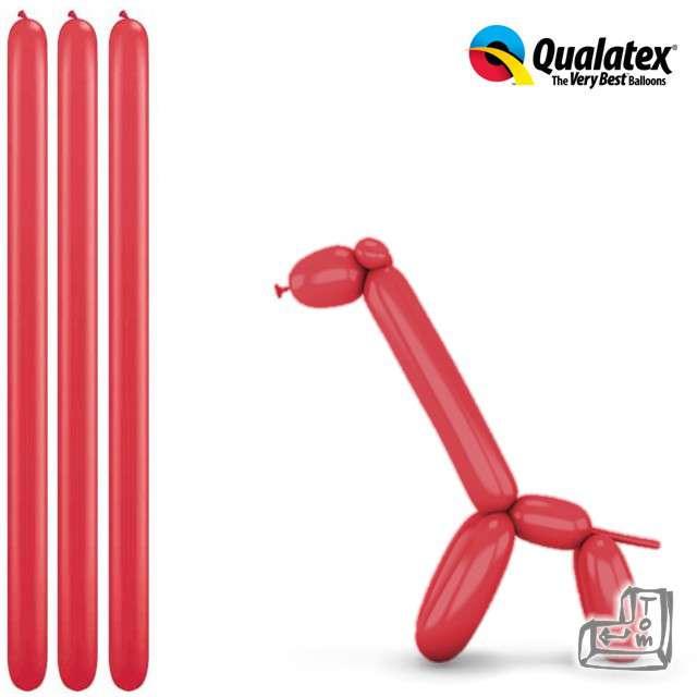 Balony modeliny QUALATEX 260 czerwone, 100 szt