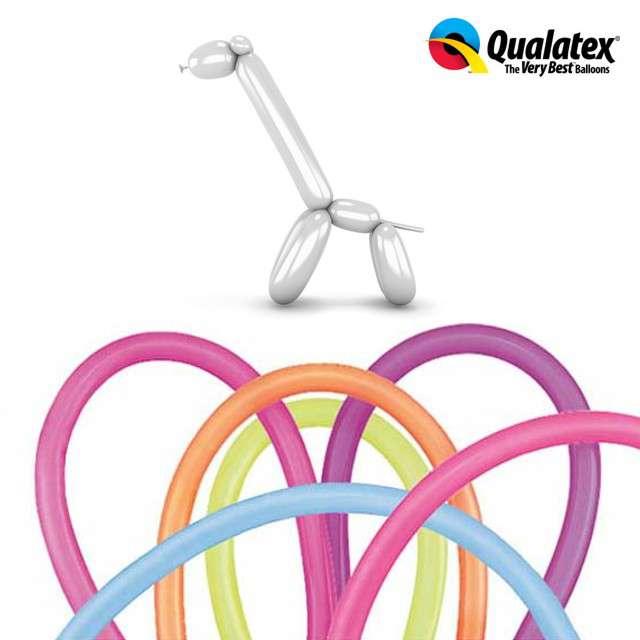 Balony modeliny QUALATEX 260 mix neon, 100 szt
