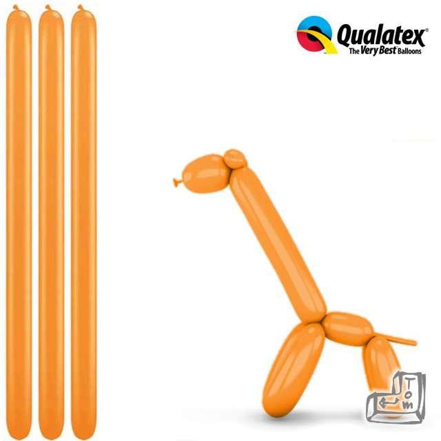 Balony modeliny QUALATEX 260 pomarańczowe, 100 szt