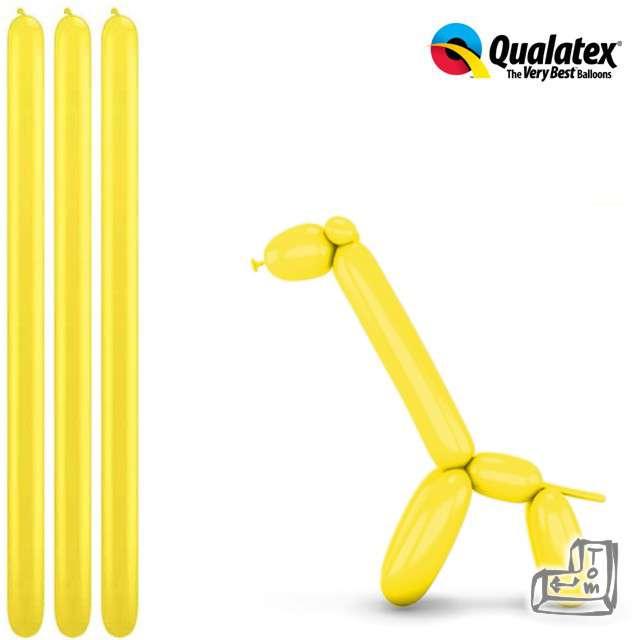 Balony modeliny QUALATEX 260 żółte, 100 szt