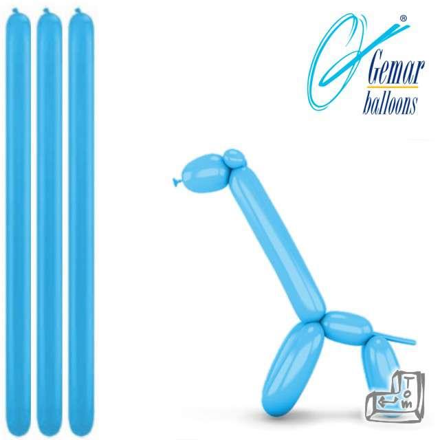 Balony modeliny GEMAR 260 błękitne, 100 szt