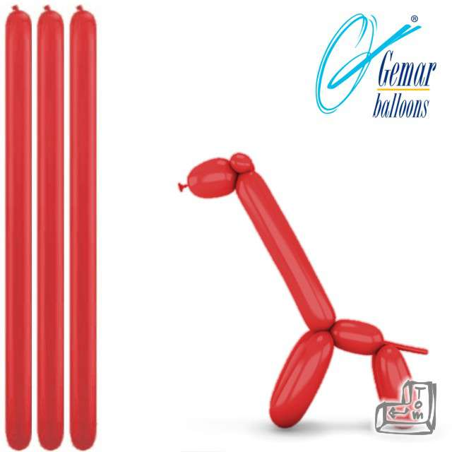 Balony modeliny GEMAR 260 czerwone, 100 szt