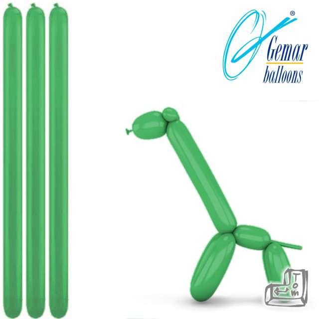 Balony modeliny GEMAR 260 zielone, 100 szt