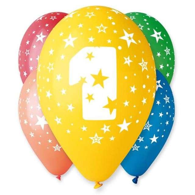 """Balony 12"""", """"Liczba  1"""", GEMAR, pastel mix, 25 szt"""