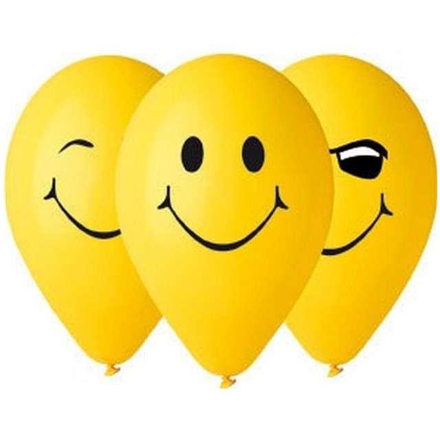 """Balony 12"""", """"3 Uśmiechy"""", GEMAR, żółte, 5 szt"""