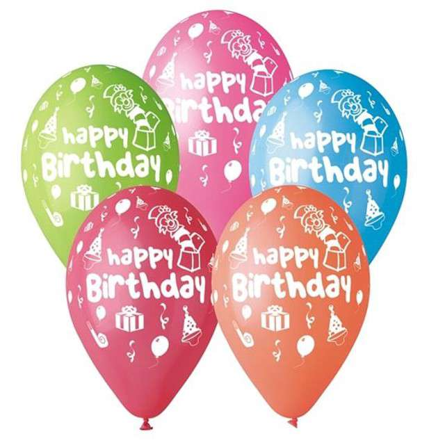 "Balony 12"", ""Happy Birthday Party"", 5 szt"