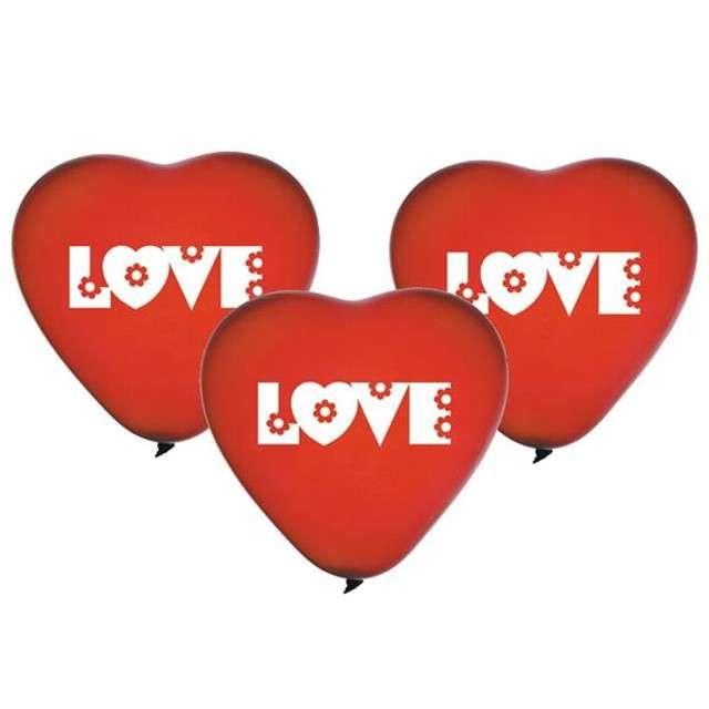 "Balony 10"", serca, GEMAR, czerwone LOVE, 5 szt"