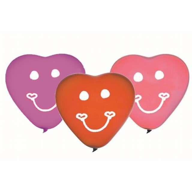 """Balony 10"""", serca, GEMAR, mix uśmiechy, 5 szt"""
