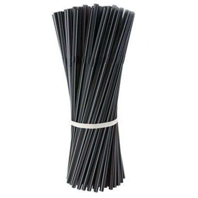 Słomki łamane, czarne, 21 cm, 250 szt