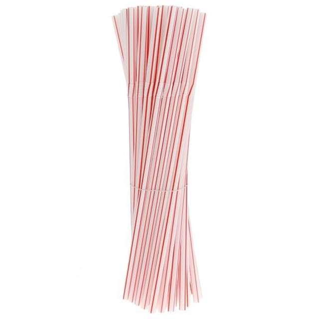 Słomki łamane, biało-czerwone paski PZPN, 21 cm, 50 szt