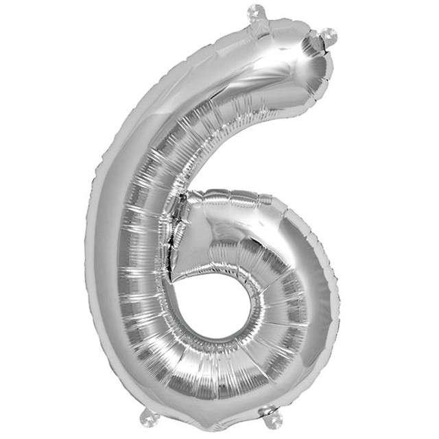 """Balon foliowy cyfra 6, 34"""", NORTHSTAR, srebrny"""