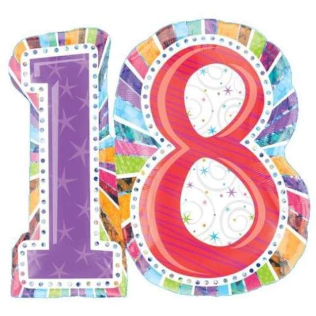 """Balon foliowy """"Urodziny 18"""", AMSCAN, 28"""" SHP"""