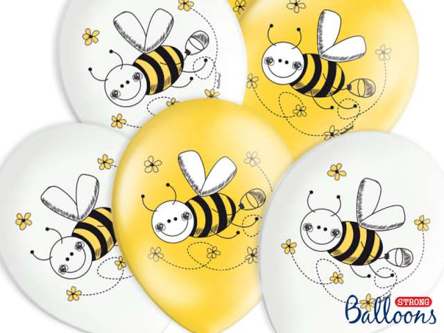 """Balony 14"""", """"Pszczółki"""", Pastel mix, 6 szt"""