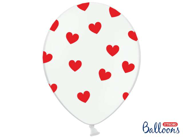 "Balony 14"", ""Serca"", STRONG, pastel white/red, 6 szt"