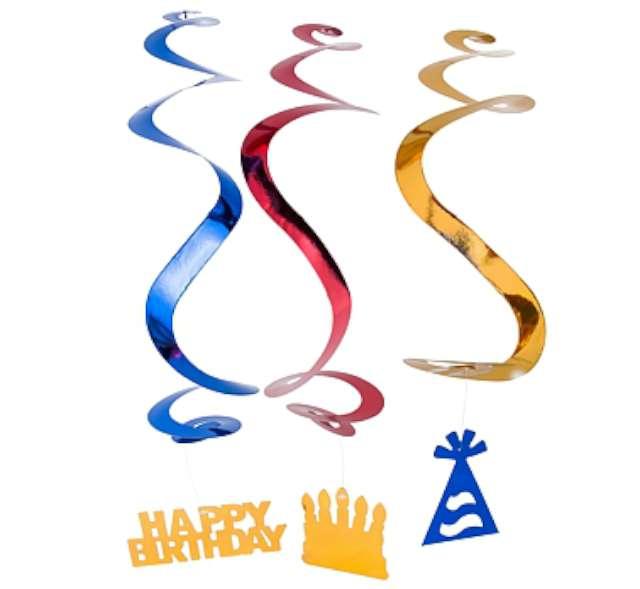 """Dekoracja wisząca świderki """"Happy Birthday"""", 60 cm"""