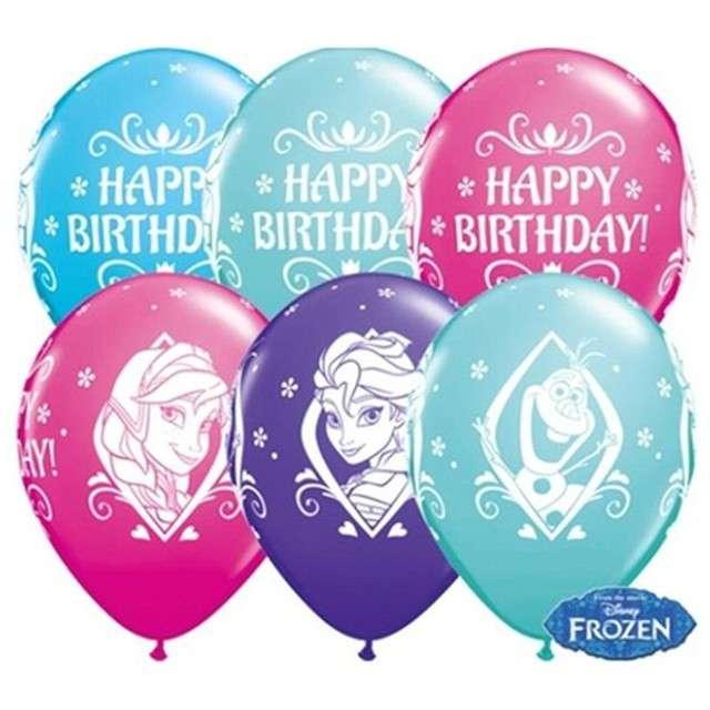 """Balony 11"""", """"Frozen Happy Birthday"""", QUALATEX, fioletowy, żurawinowy i turkusowy, 25 szt"""