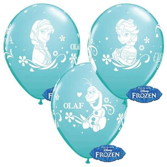 """Balony 12"""", """"Anna, Elsa, Olaf"""", QUALATEX, pastel błękit karaibski, 6 szt"""