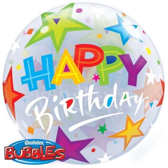 """Balon foliowy """"HAPPY BIRTHDAY GWIAZDKI"""", Qualatex Bubbles, 22"""""""