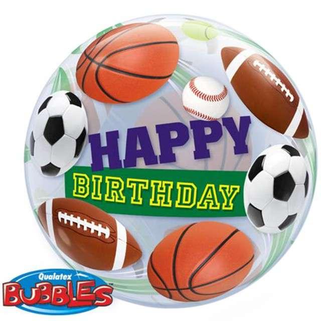 "Balon foliowy ""HAPPY BIRTHDAY SPORT"", Qualatex Bubbles, 22"""