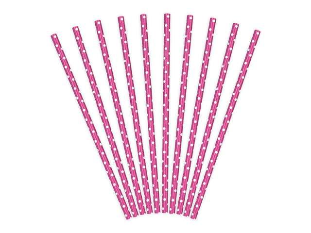 Słomki papierowe w kropki, różowe ciemne/białe, 19,5 cm, 10 szt