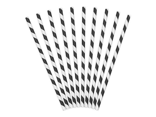 Słomki papierowe w paski, czarne, 19,5 cm, 10 szt