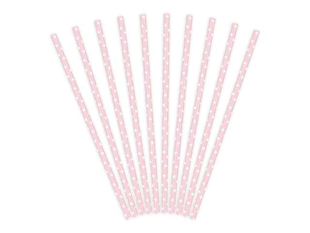 Słomki papierowe w kropki, różowe jasne/białe, 19,5 cm, 10 szt