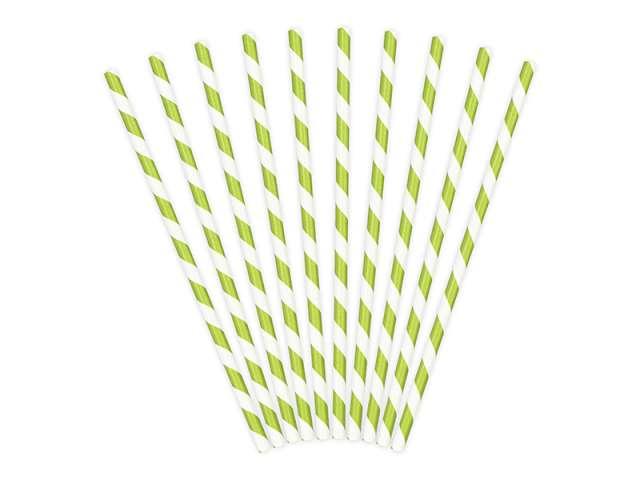 Słomki papierowe w paski, zielone jabłuszko, 19,5 cm, 10 szt