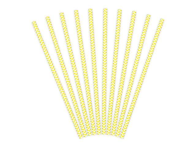 Słomki papierowe chevron, żółte, 19,5 cm, 10 szt