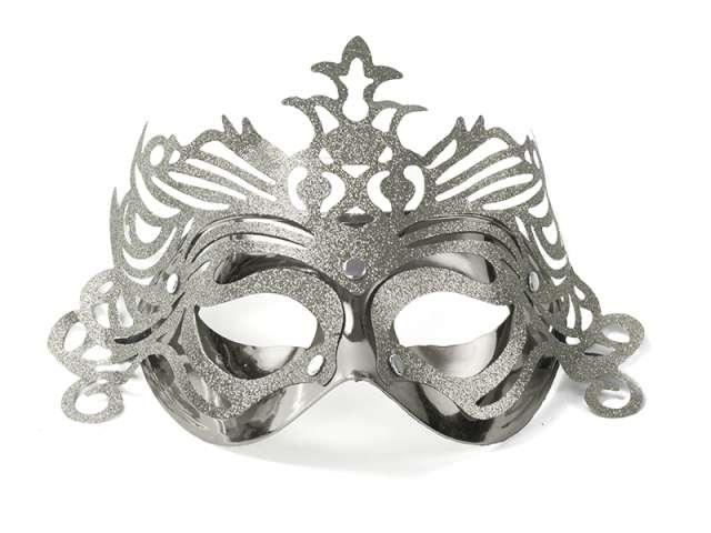Maska karnawałowa, srebrna z ornamentem