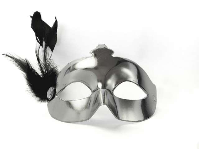 Maska karnawałowa, srebrna z piórkiem