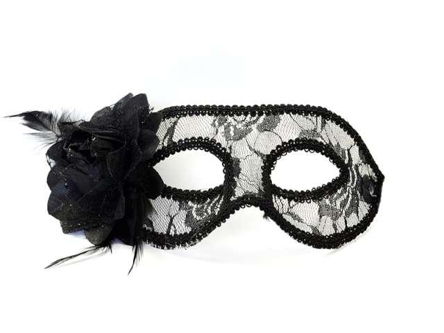 Maska karnawałowa, czarna, koronkowa z różą
