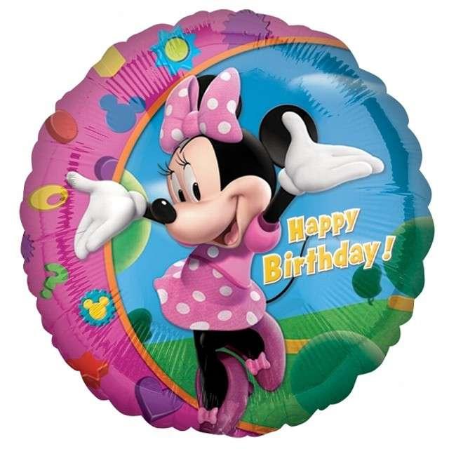 """Balon foliowy """"Minnie Happy Birthday"""", AMSCAN, 18"""" CIR"""