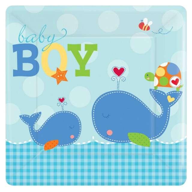 """Talerzyki papierowe """"Ahoy Baby Blue"""", 26 cm, 8 szt"""