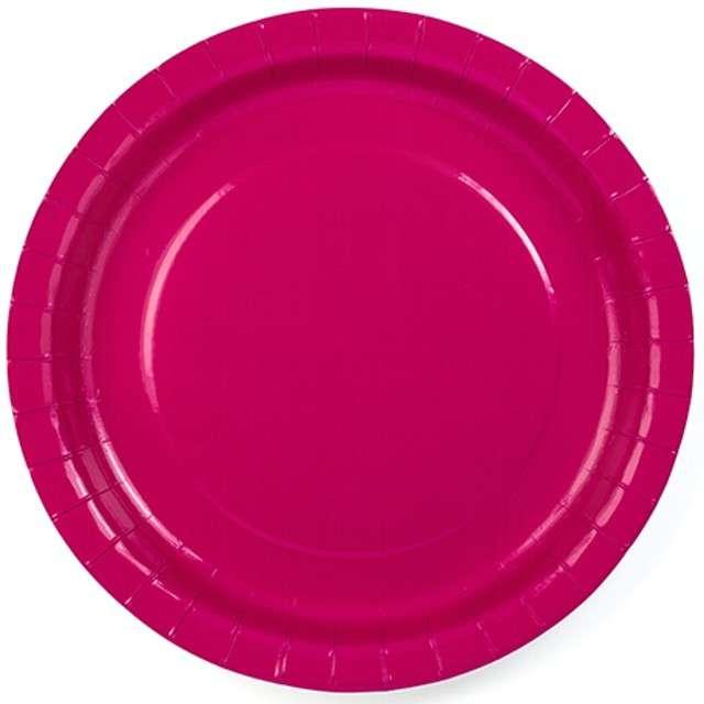 """Talerzyki papierowe """"gładkie"""", różowe, 23 cm, 6 szt"""